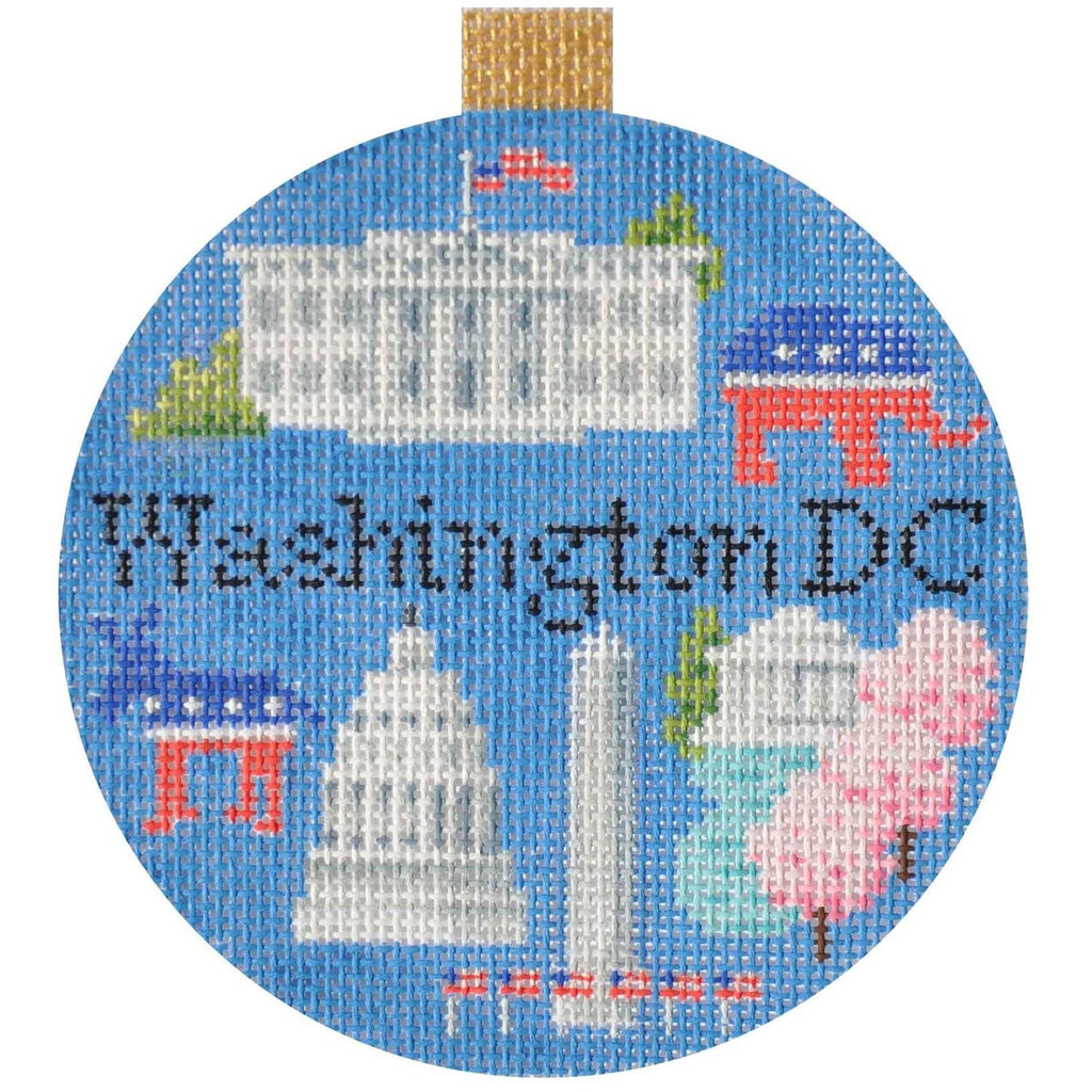 Washington DC Travel Round Needlepoint Canvas-Needlepoint Canvas-Kirk and Bradley-KC Needlepoint