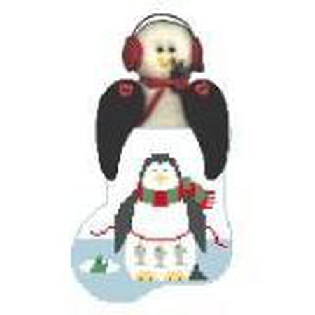Fishing Penguin Mini Sock Canvas - needlepoint