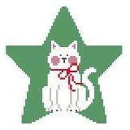 White Cat Star Canvas - needlepoint