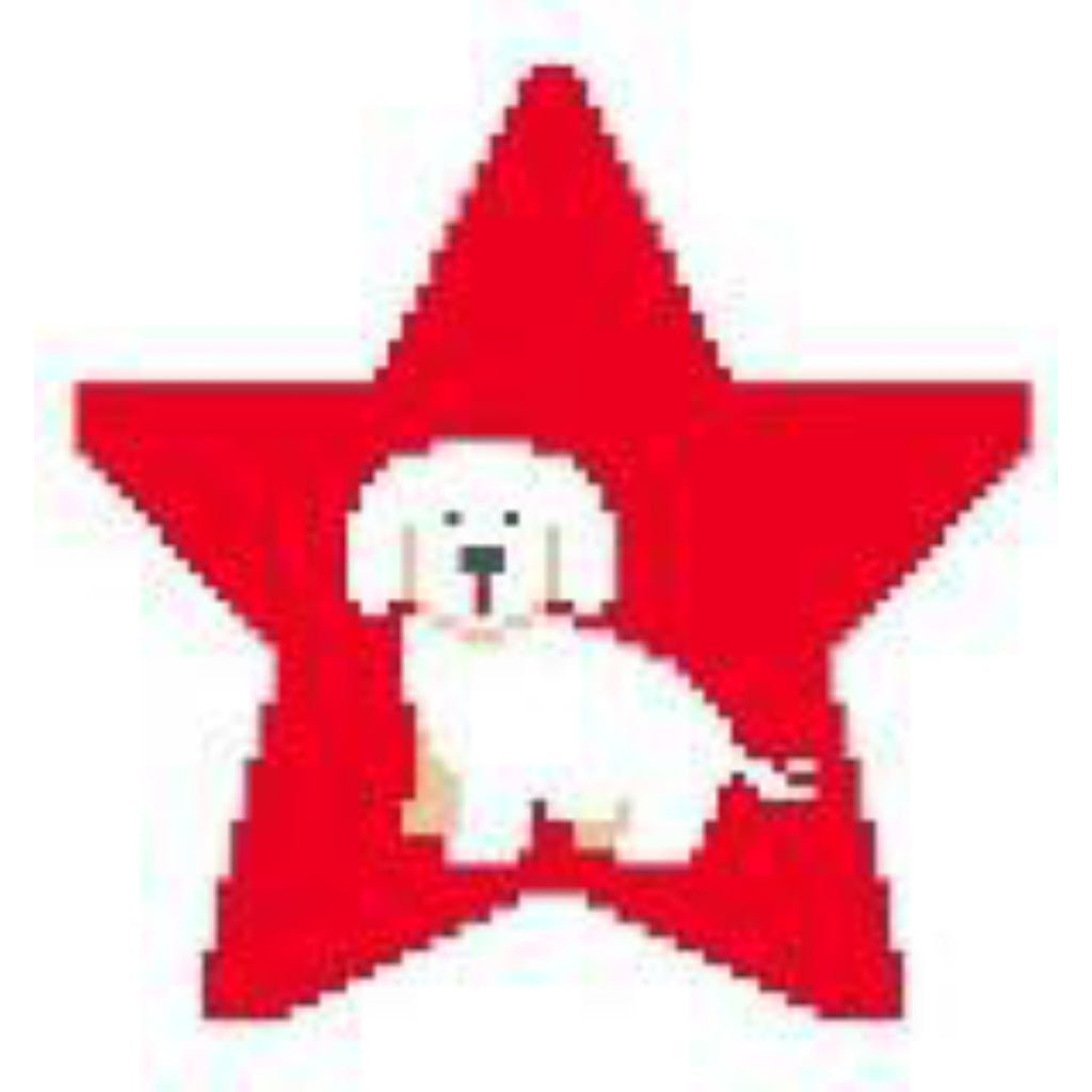 Bichon Frise Star Canvas-Needlepoint Canvas-Kathy Schenkel-18 Mesh-KC Needlepoint