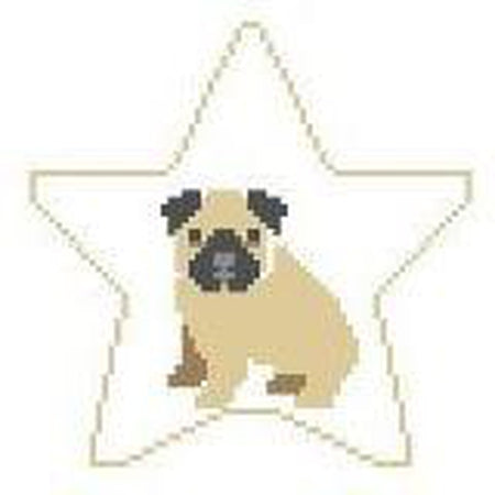 Pug Star Canvas - needlepoint
