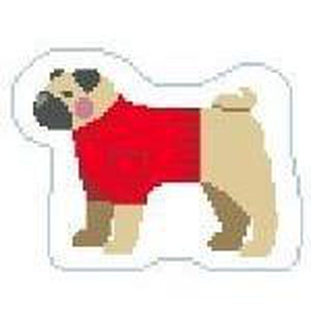 Pug Ornament Canvas - needlepoint