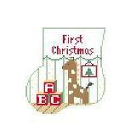 First Christmas Mini Sock Canvas-Kathy Schenkel-KC Needlepoint