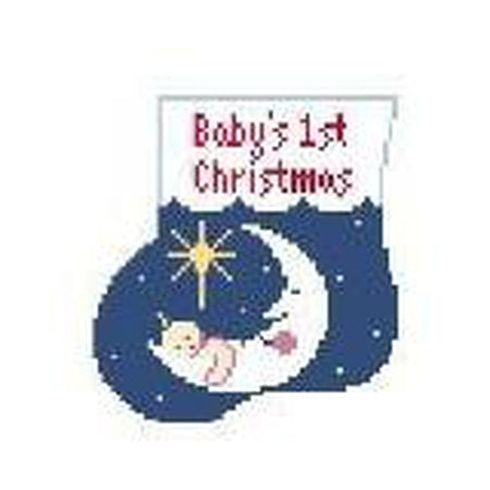 Baby's First Christmas Mini Sock Canvas - KC Needlepoint