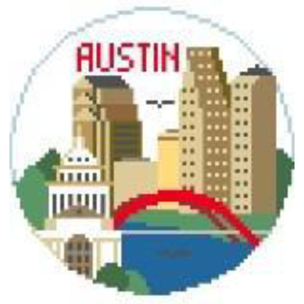 Austin Round Canvas - needlepoint