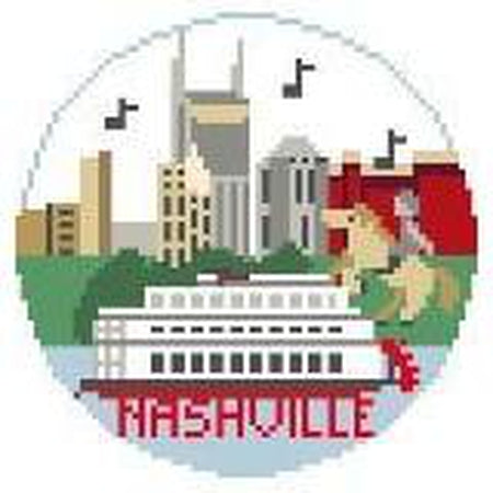 Nashville Travel Round Canvas-Needlepoint Canvas-Kathy Schenkel-KC Needlepoint