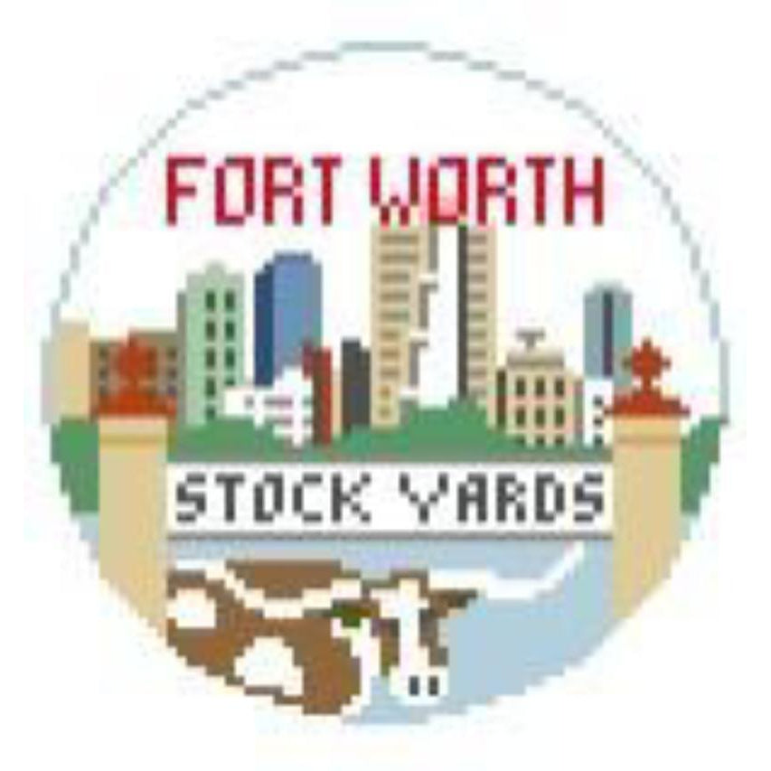 Fort Worth Travel Round Canvas-Needlepoint Canvas-Kathy Schenkel-KC Needlepoint