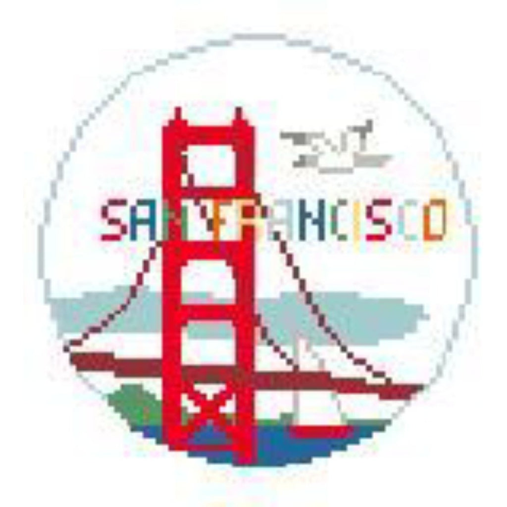 San Francisco Travel Round Canvas-Needlepoint Canvas-Kathy Schenkel-KC Needlepoint