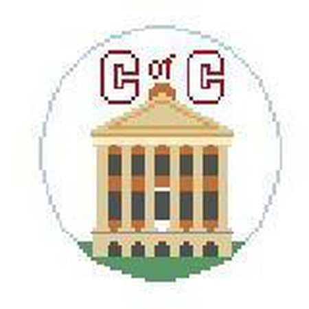 College of Charleston Round Canvas-Needlepoint Canvas-Kathy Schenkel-18 Mesh-KC Needlepoint