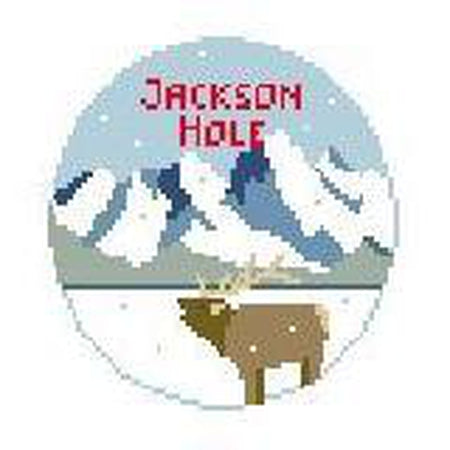 Jackson Hole Travel Round Canvas-Needlepoint Canvas-Kathy Schenkel-KC Needlepoint