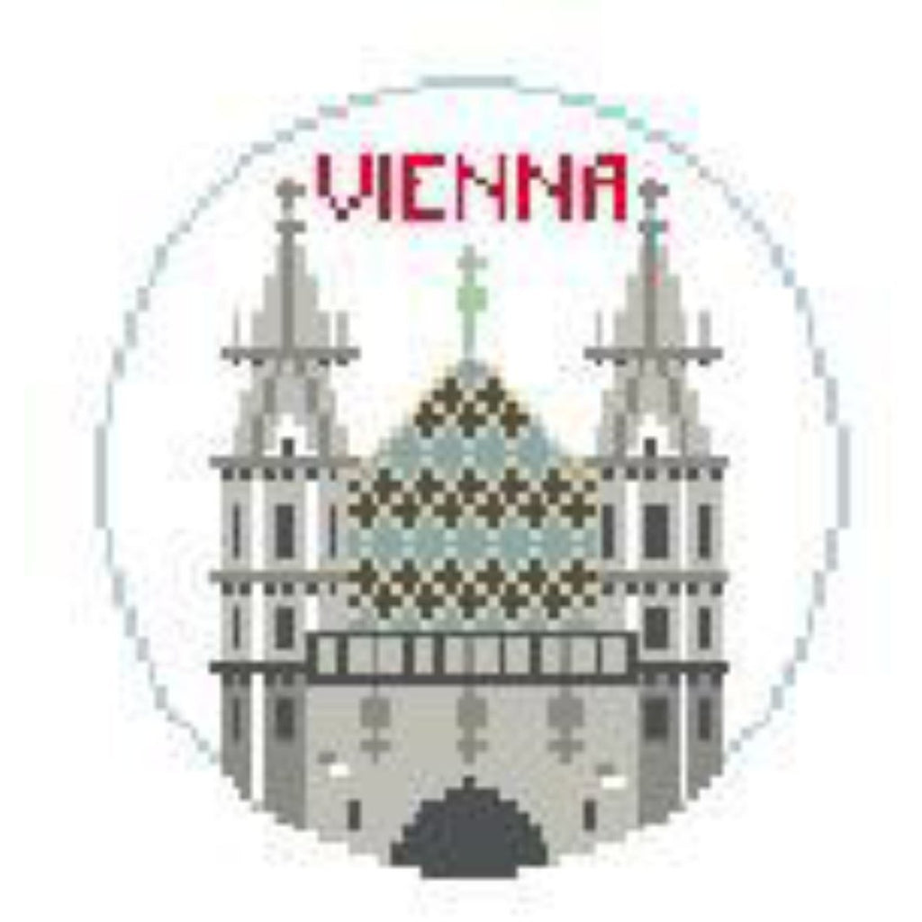 Vienna Travel Round Canvas-Needlepoint Canvas-Kathy Schenkel-KC Needlepoint