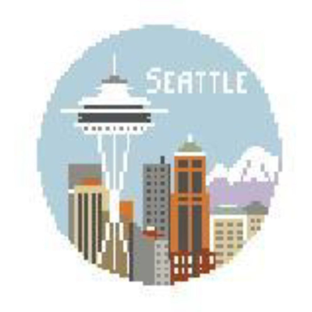 Seattle Travel Round Canvas-Needlepoint Canvas-Kathy Schenkel-KC Needlepoint