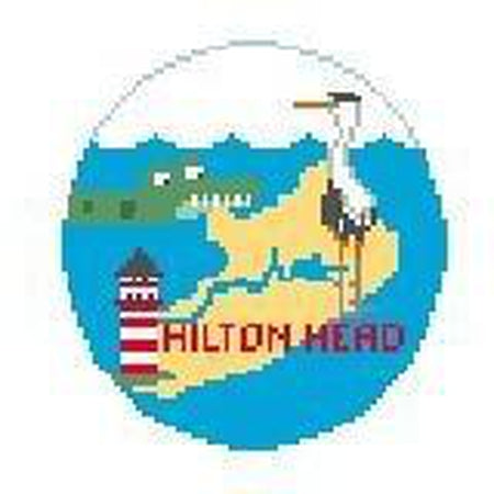 Hilton Head Travel Round Canvas-Needlepoint Canvas-Kathy Schenkel-KC Needlepoint