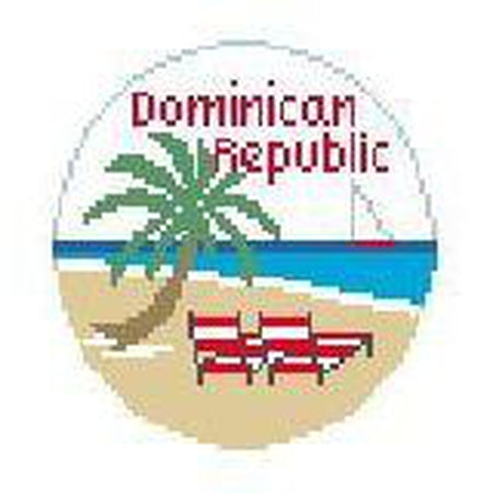 Dominican Republic Travel Round Canvas-Needlepoint Canvas-Kathy Schenkel-KC Needlepoint