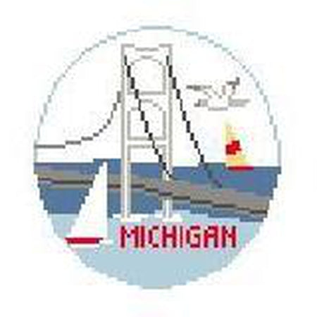 MIchigan Travel Round Canvas-Needlepoint Canvas-Kathy Schenkel-KC Needlepoint
