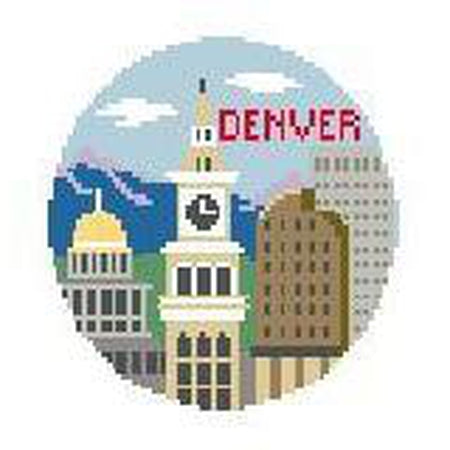 Denver Travel Round Canvas-Needlepoint Canvas-Kathy Schenkel-KC Needlepoint