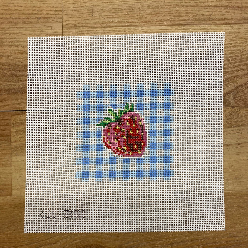 Strawberry on Gingham Square - needlepoint