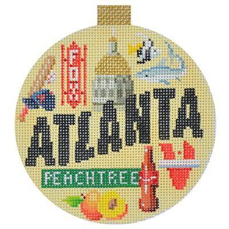Atlanta Travel Round Needlepoint Canvas-Needlepoint Canvas-Kirk and Bradley-KC Needlepoint