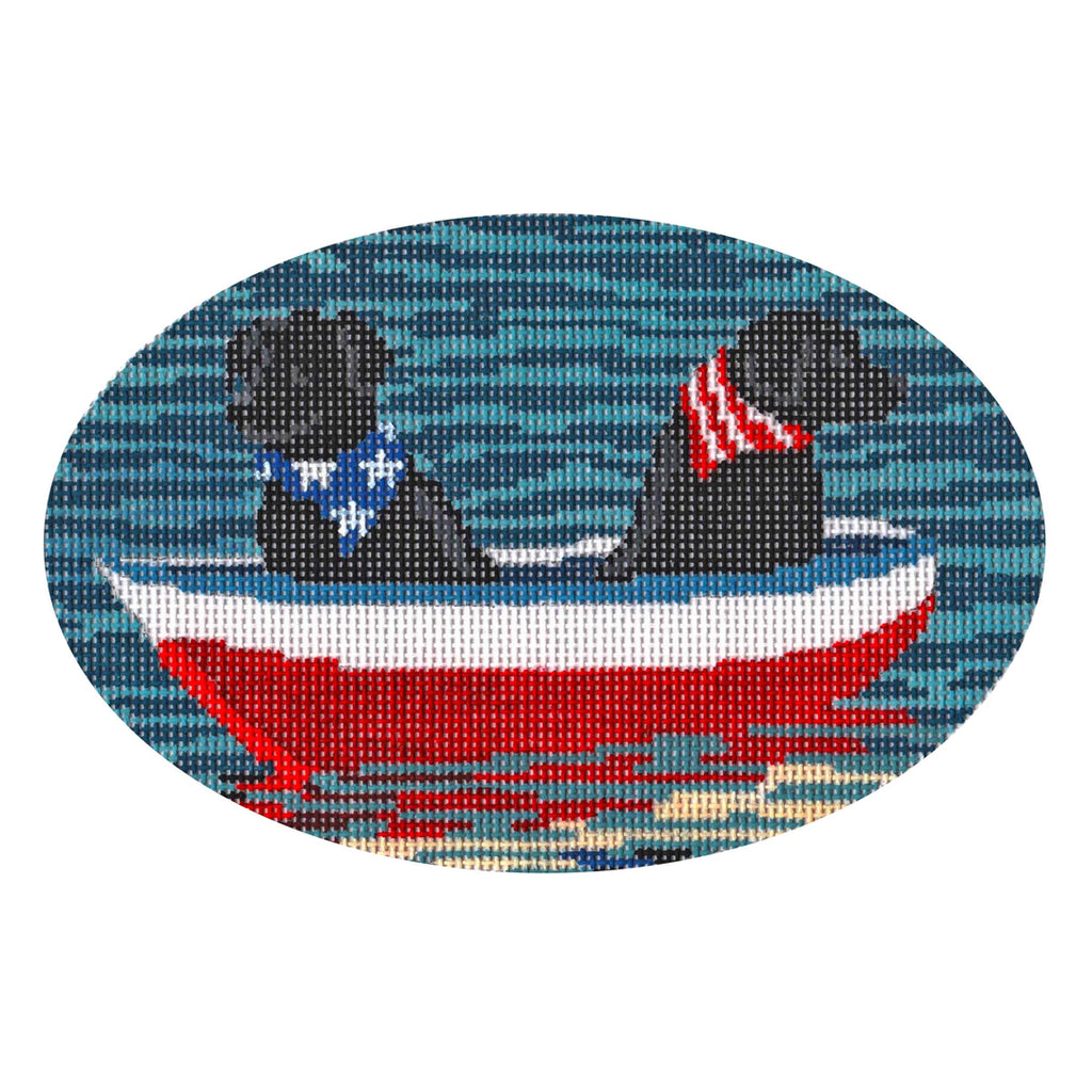 Black Labs in Boat Canvas - KC Needlepoint