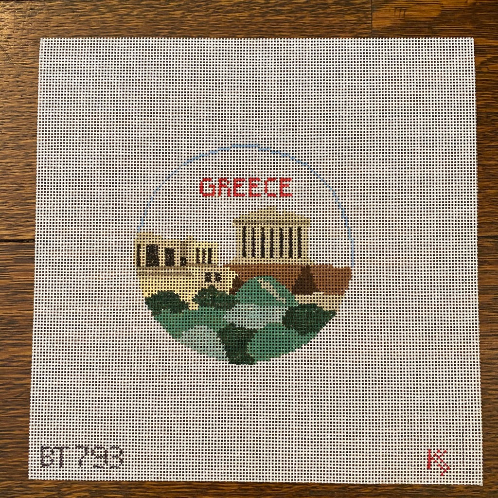 Greece Travel Round Canvas - needlepoint