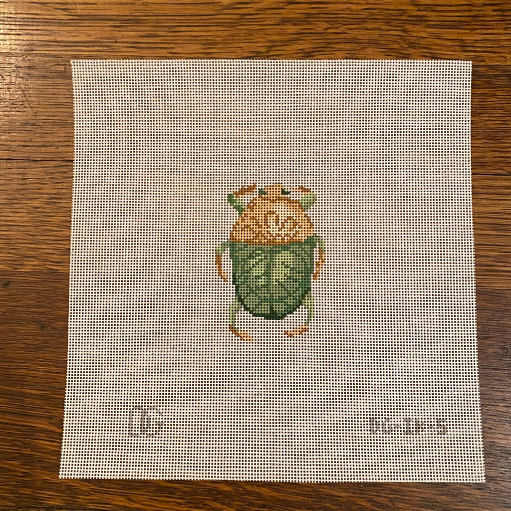 Green Scarab Canvas - needlepoint