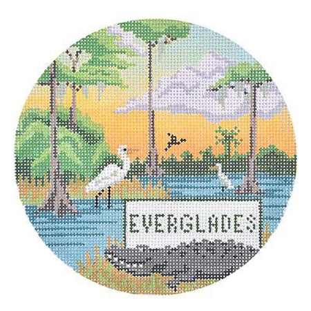 Everglades Travel Round Canvas-Needlepoint Canvas-Burnett & Bradley-KC Needlepoint