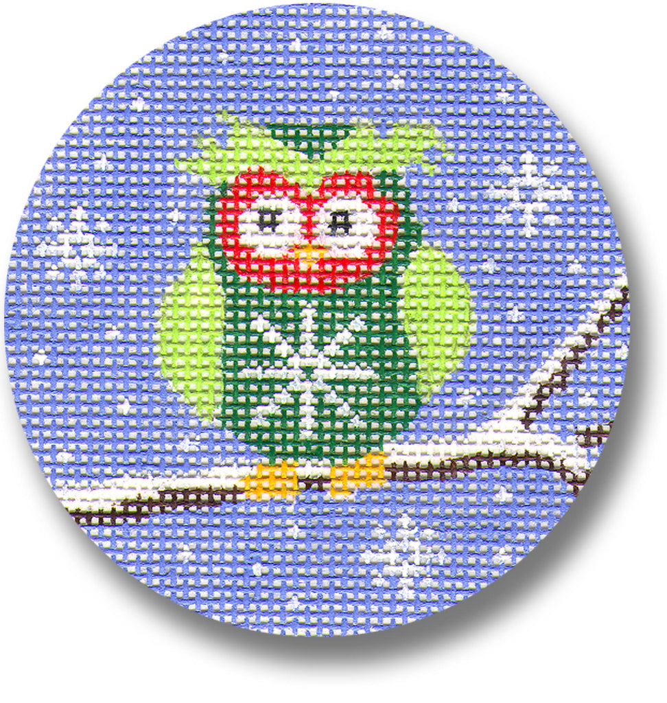 Green Owl on Branch Canvas-Needlepoint Canvas-CBK Needlepoint-KC Needlepoint
