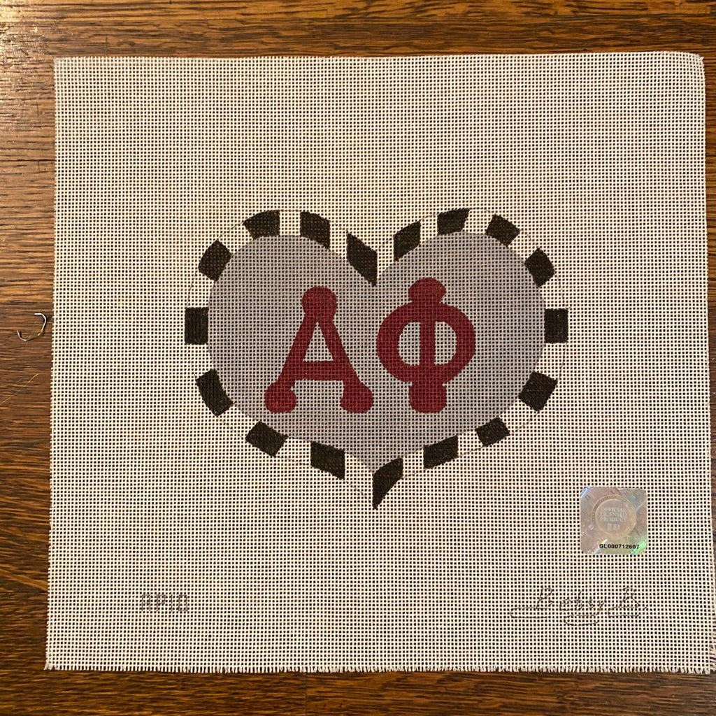 Alpha Phi Large Heart Canvas - KC Needlepoint