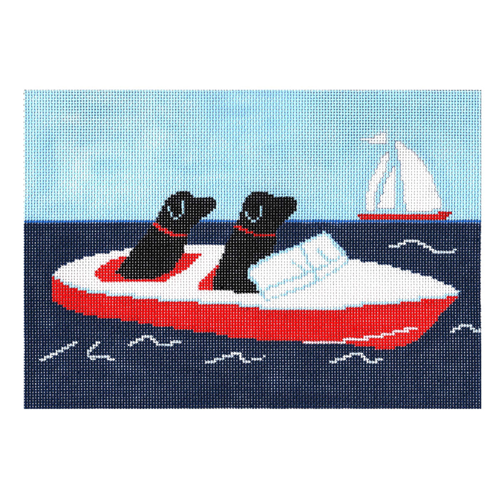 Dogs in Speedboat Canvas-Needlepoint Canvas-CBK Needlepoint-KC Needlepoint