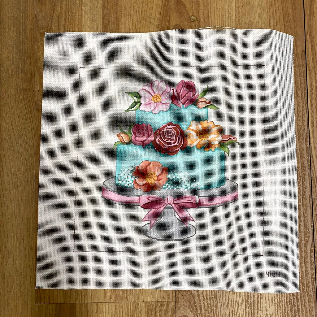 Teal Wedding Cake Canvas-Needlepoint Canvas-KC Needlepoint