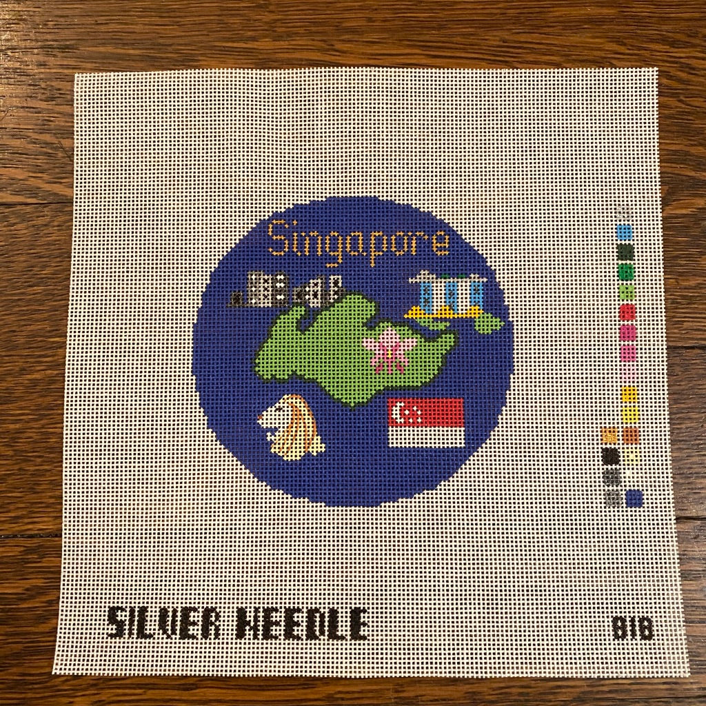 "Singapore 4 1/4"" Travel Round Needlepoint Canvas"