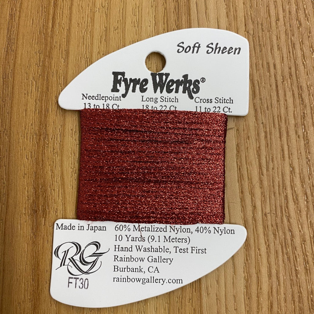 Fyre Werks Soft Sheen FT30 Red - KC Needlepoint