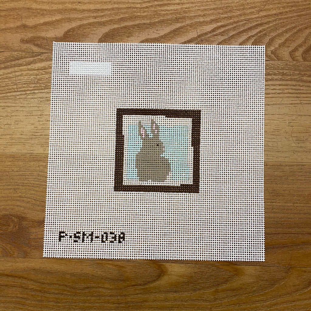 Bunny Blue Background Canvas - KC Needlepoint