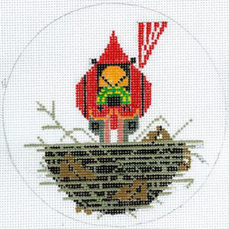 Cardinal Cradle Round Canvas - KC Needlepoint