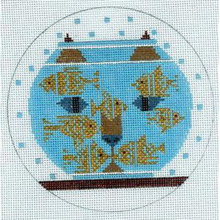 Fishful Thinking Round Canvas-Needlepoint Canvas-The Meredith Collection-KC Needlepoint