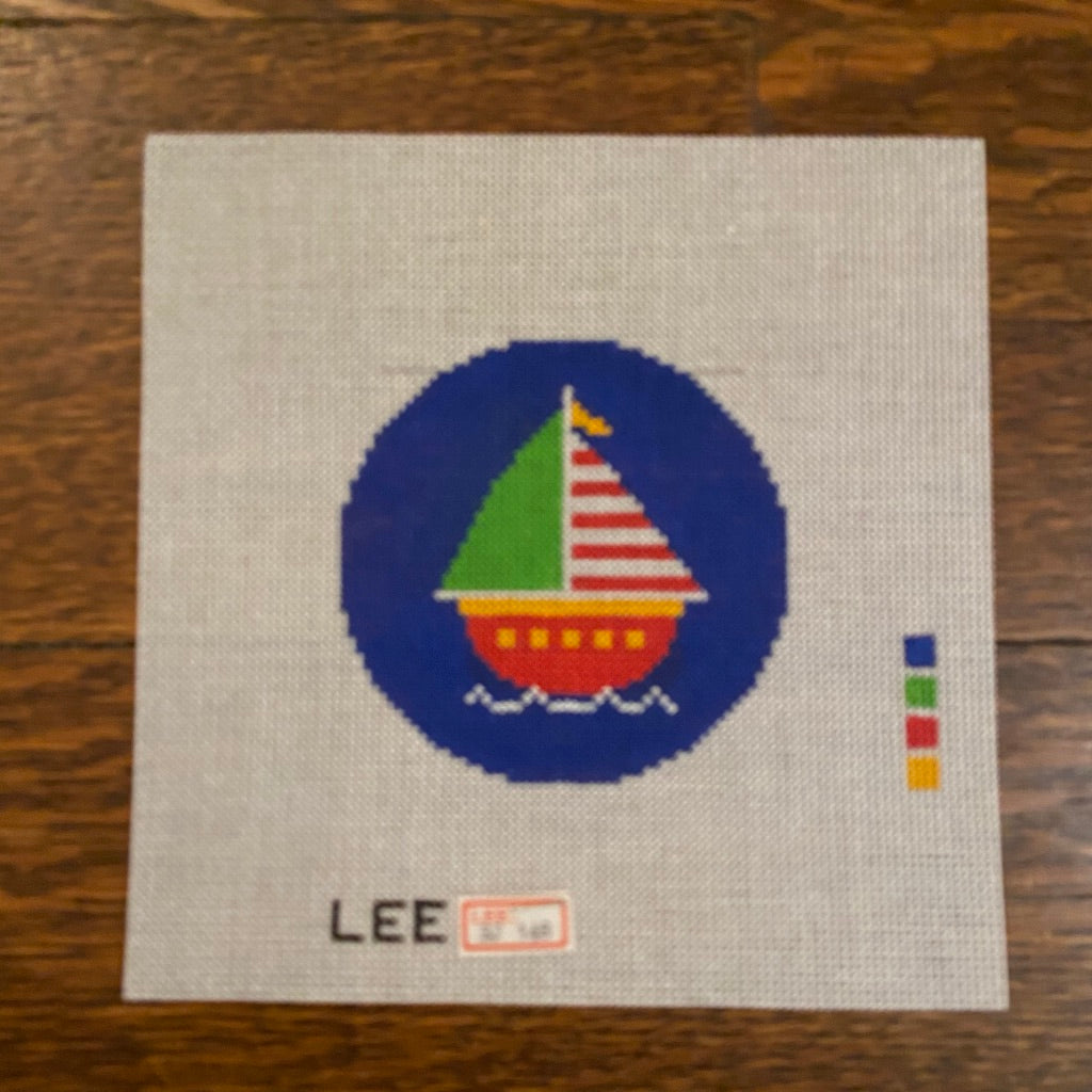 "Sailboat 3"" Round Canvas-Needlepoint Canvas-KC Needlepoint"