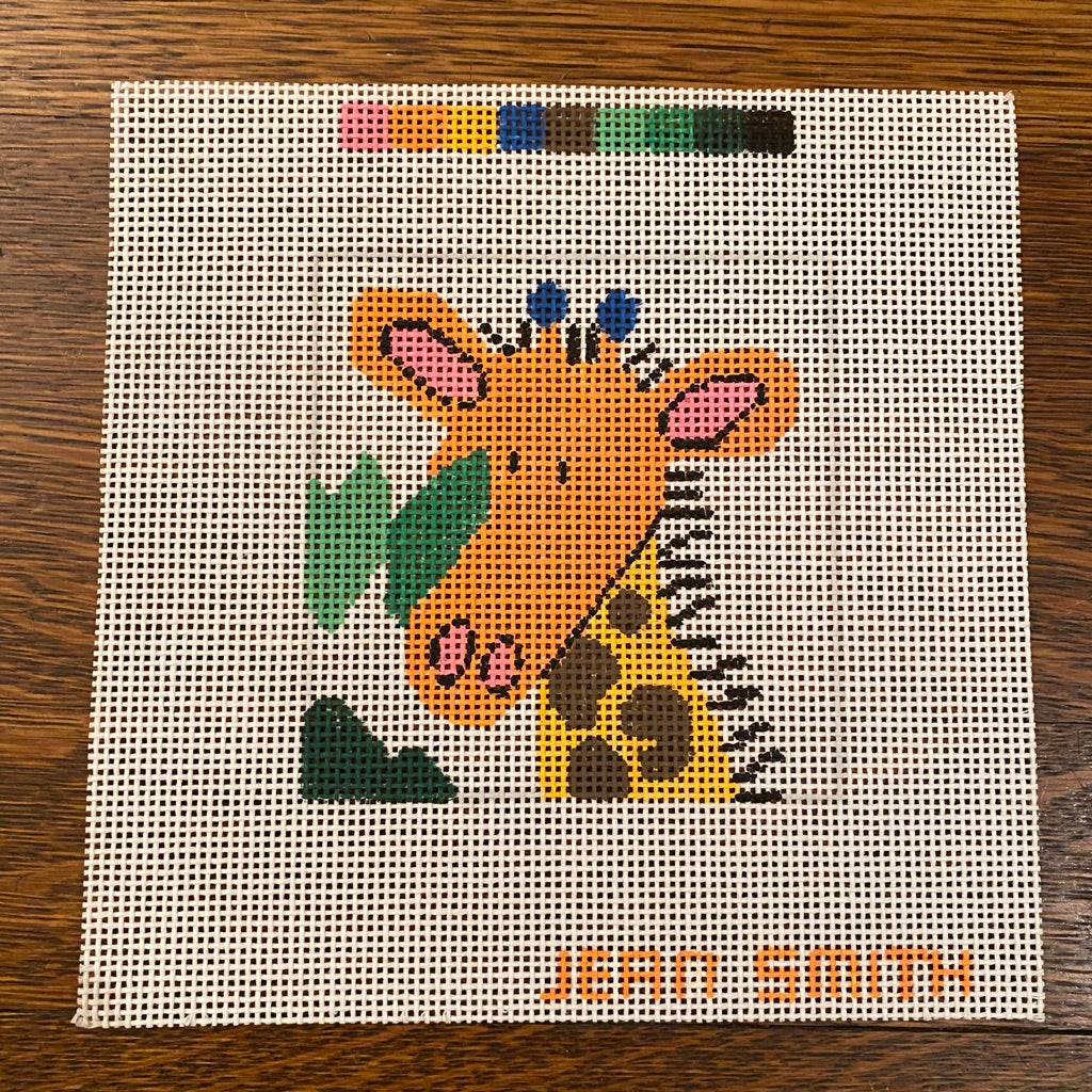 Giraffe Coaster Canvas - needlepoint
