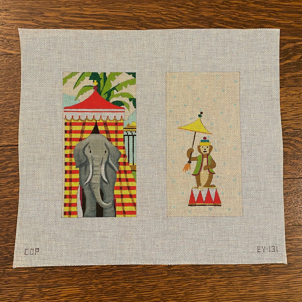 Circus Elephant Eyeglass Case Canvas-Needlepoint Canvas-KC Needlepoint