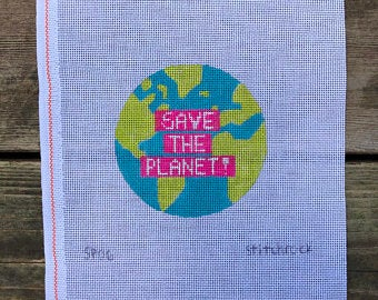 Save the Planet Canvas-Needlepoint Canvas-KC Needlepoint