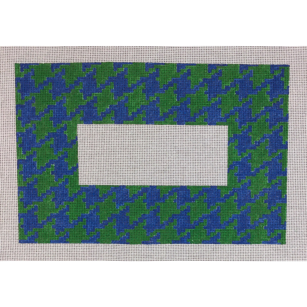 Houndstooth With Monogram Space Canvas - kelly/royal - needlepoint