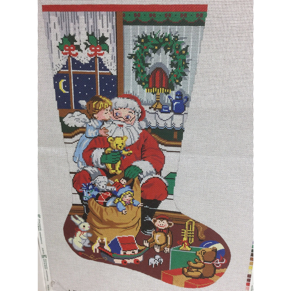 Santa/Toy Bag Christmas Stocking-Needlepoint Canvas-Colonial Needle-13 mesh-KC Needlepoint