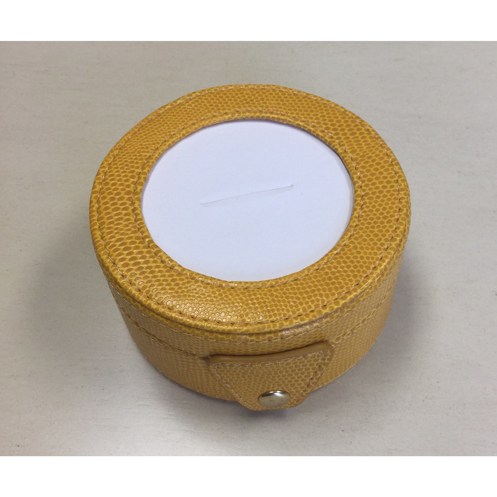 Round Leather Gift Box-Accessories-Colonial Needle-Yellow-KC Needlepoint