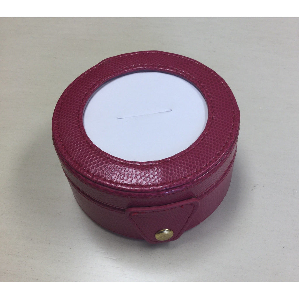 Round Leather Gift Box-Accessories-Colonial Needle-Fuchsia-KC Needlepoint