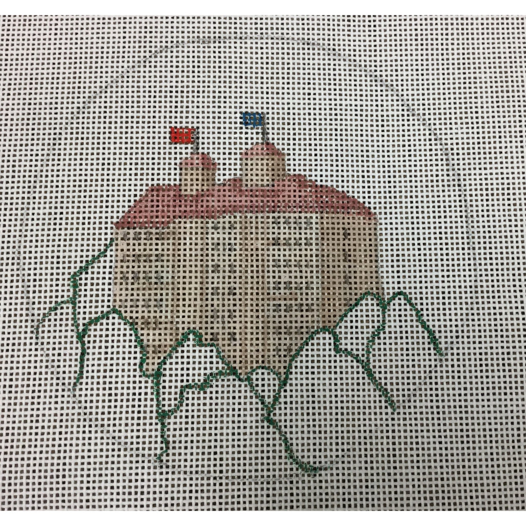 KU Fraser Hall Round Canvas-Needlepoint Canvas-Local Artist-18 mesh-KC Needlepoint
