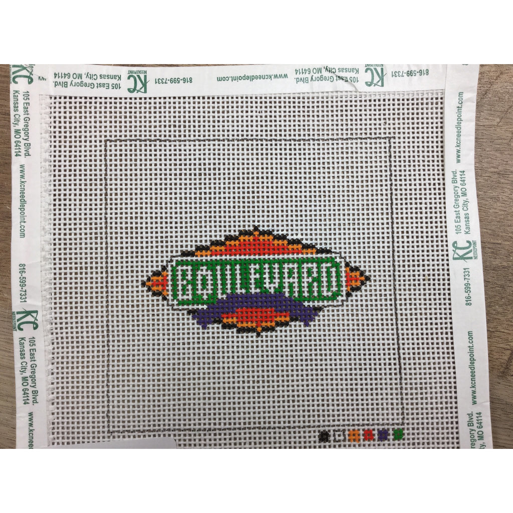 "Boulevard Beer 4 1/2"" Square Canvas-Needlepoint Canvas-Local Artist-13 mesh-KC Needlepoint"