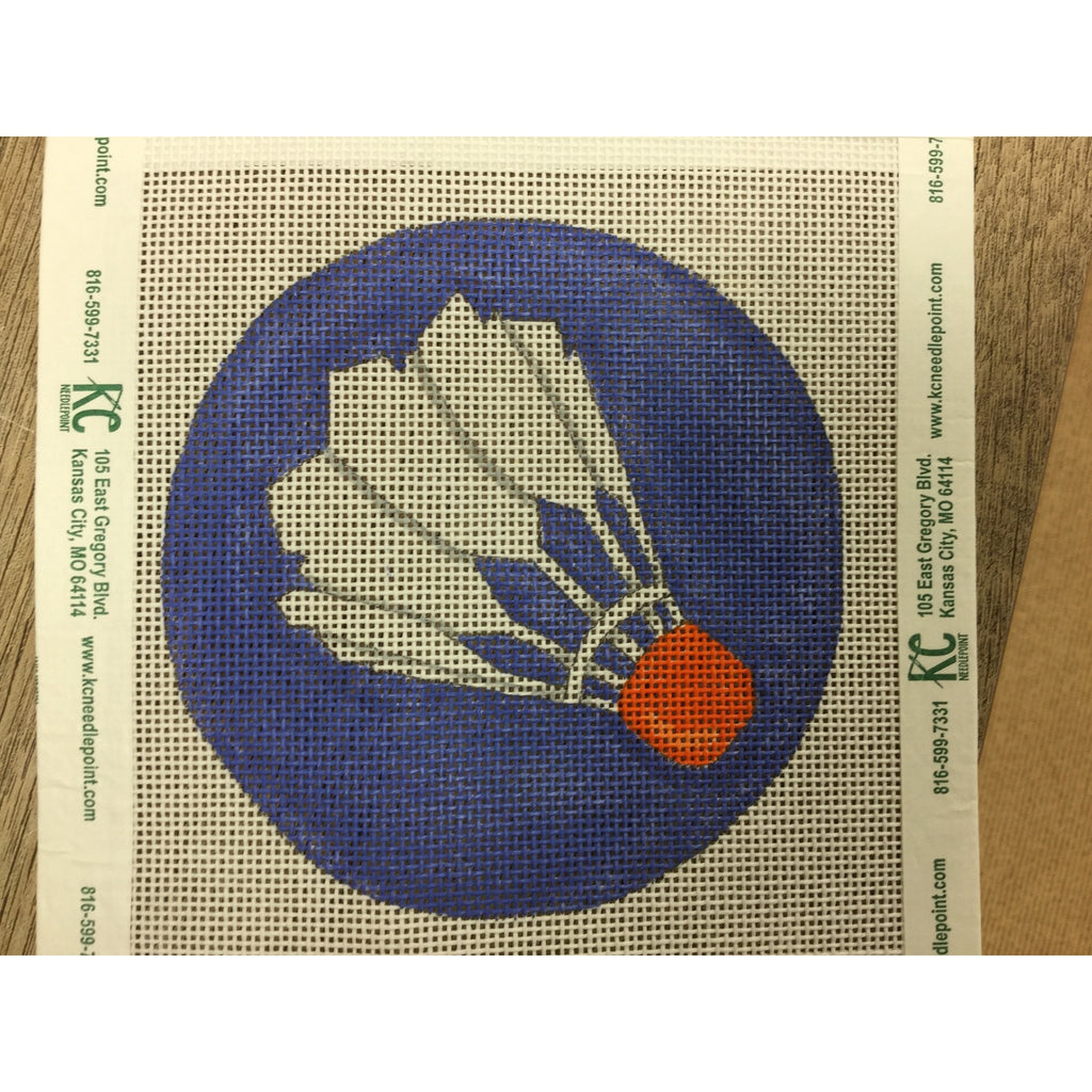 "Shuttlecock 4"" Round Canvas - needlepoint"