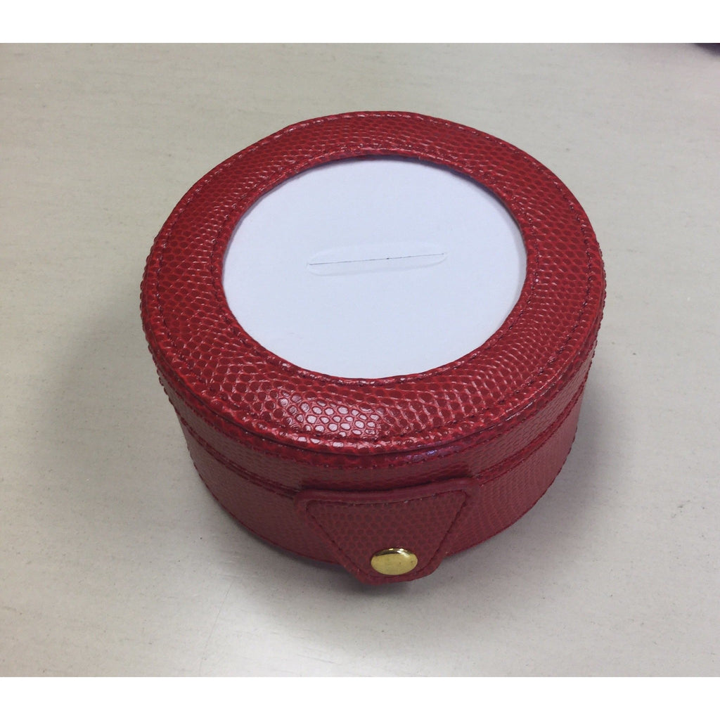Round Leather Gift Box-Accessories-Colonial Needle-Red-KC Needlepoint