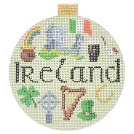 Ireland Travel Round Needlepoint Canvas-Needlepoint Canvas-Kirk and Bradley-KC Needlepoint