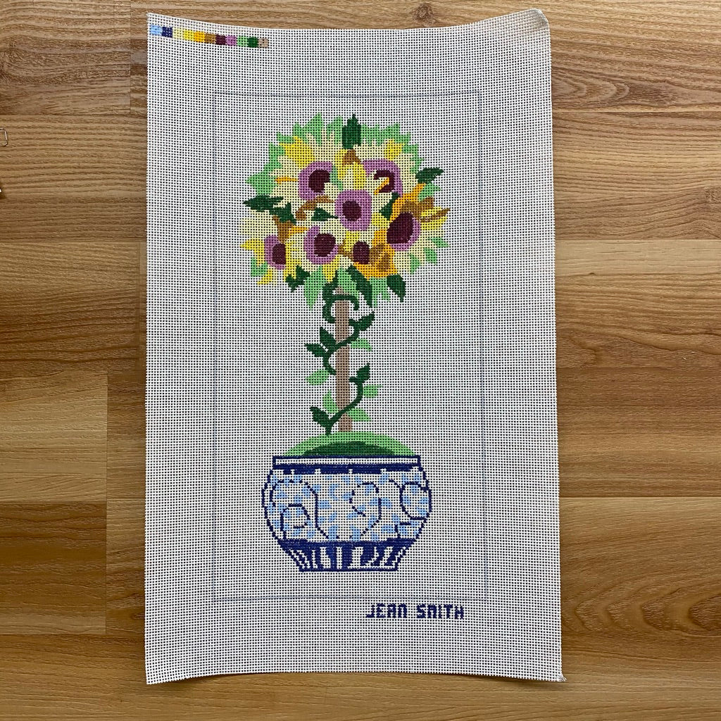 Small Sunflower Topiary Needlepoint Canvas - needlepoint