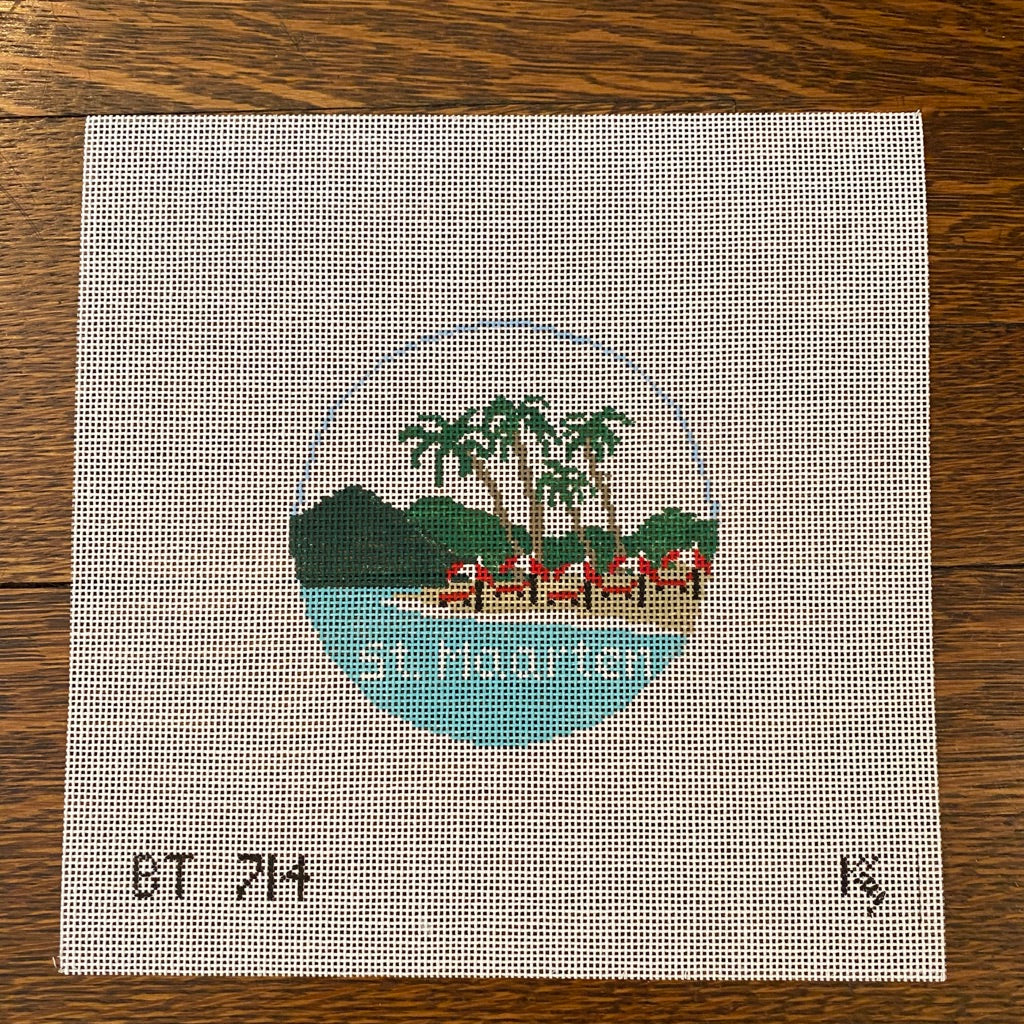 St. Maarten Travel Round Canvas-Needlepoint Canvas-KC Needlepoint
